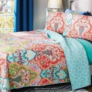 Jeweled Damask Quilt FULL/QUEEN w/ 2 Shams